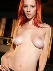 Busty redhead Ariel strips for you in silky lingerie