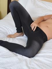 Mai Lyn slips off her shirt and leggings to cum hard with her little vibrator bullet