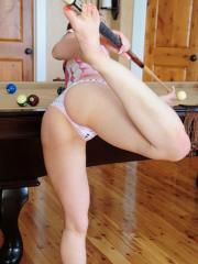 Emi looks totally innocent as she masturbates on top of a pool table