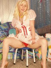 Blonde teen Sexy Pattycake is your very hot candy stripper for the night