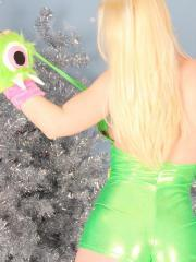 Blonde teen Sexy Pattycake is a weird green winter monster