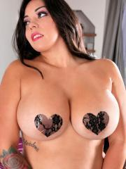 Moreaa tries to cover her massive 36DDDs in pasties