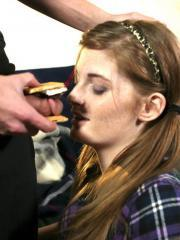 Pictures of redhead teen Faye Reagan giving a lucky guy a blowjob