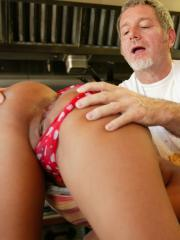 Teen hottie Ruby Reyes fucks big old man cock at work