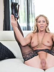 Busty blonde Cherie Deville wants to fuck in her black lingerie