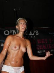 Hot coeds compete in a wet t-shirt competition
