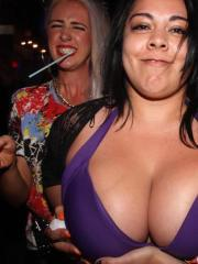 College hotties strip and flash while partying