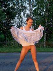Beautiful girl Nikia A shows you what's under her summer skirt before taking it all off