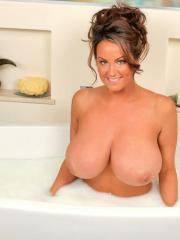Sarah Randall takes a naughty bath in milk