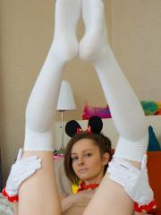 "Brunette girl Caramel strips in her Minnie Mouse costume in ""Tasty Caramel"""