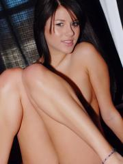 Horny Shyla Jennings bends over and shows off her wet pink pussy