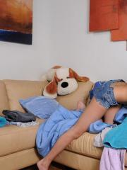 Hot teen Shyla Jennings gets naughty while folding the laundry