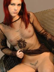 Teen punk Azrael Arden is waiting for you in her sheer dress