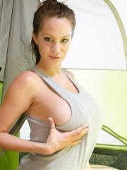 Talia Shepard gets horny in the tent while camping and decides to masturbate