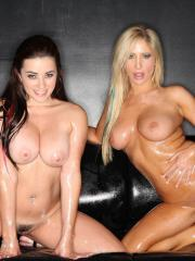 Busty hotties Tasha Reign and Taylor Vixen get kinky with the oil