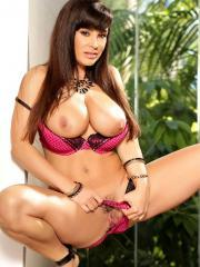 Busty brunette Lisa Ann slides down her panties and fondles her pussy