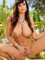 Busty brunette Lisa Ann strips out of her bikini by the pool