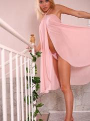 Pictures of Maddie showing off her hot legs in a pink dress