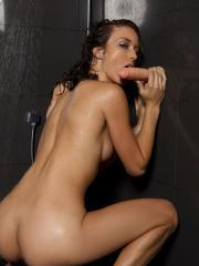 Malena Morgan gets naughty with the three dildos in the shower
