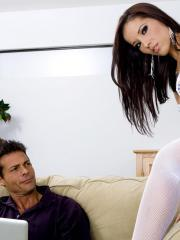 Angel Dark gets fucked hard and deep in her fishnet stockings