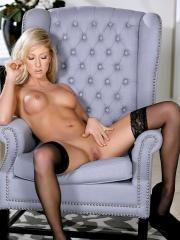 Blonde babe Kathrynn St-Croixx fondles her wet pussy in lingerie
