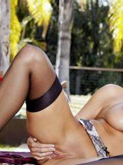 Pictures of Dylan Ryder spreading her legs in stockings