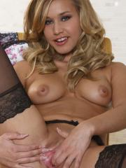 Pictures of blonde teen Kennedy Leigh unwinding for a masturbation session