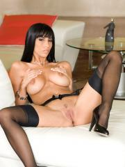 Hot busty babe Jaime Hammer teases in black lingerie