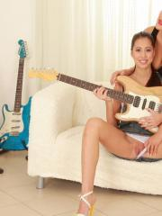 Carmen Croft and Christy Charming get turned on during band practice