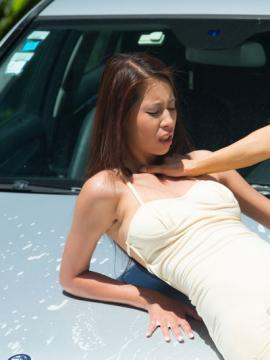 Suzie Carina and Christy Charming get turned on washing a car
