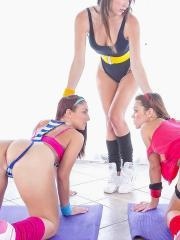 Pictures of three hot teens getting turned on by their work out