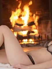 Pictures of Malena and Lily getting it on by the fireplace