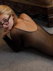 Blonde coed Lily Ivy gets goofy at home in her fishnet lignerie